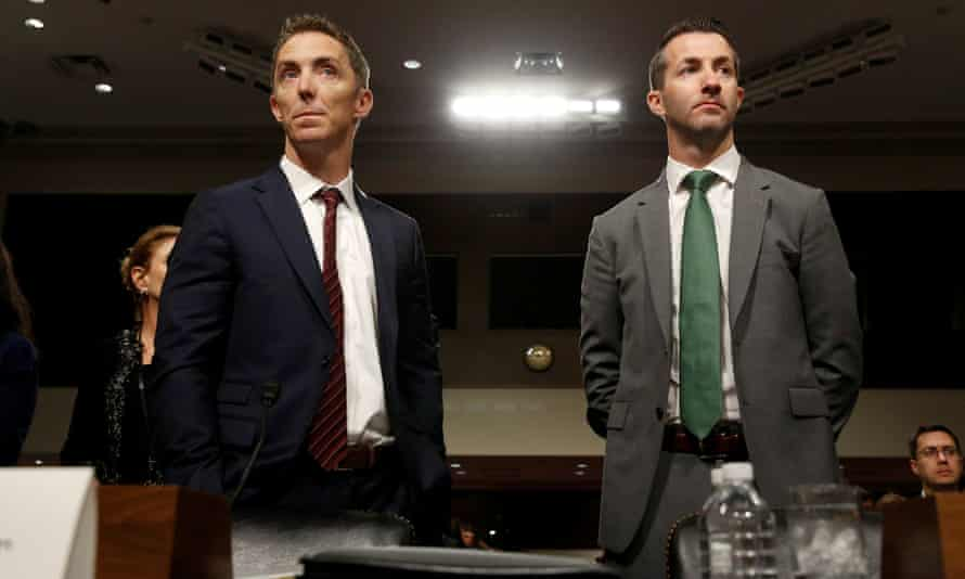 Keith Enright, chief privacy officer at Google, and Damien Kieran, global data protection officer and associate legal director at Twitter, stand before the Senate commerce committee.