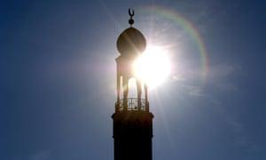 The minaret of Birmingham Central Mosque