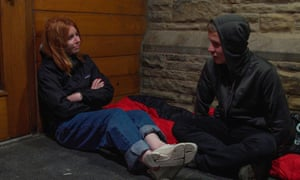 Stacey Dooley in Blackpool with a homeless youngster, Josh