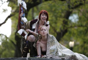 Bare, forked animals: Gina Marie Russell, left, as Prospero and Marisa Roper as Miranda.