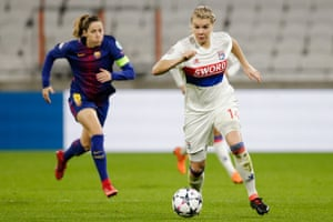 Hegerberg in action for Olympique Lyon against FC Barcelona.