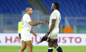 Jonathan Joseph and Maro Itoje during England's Six Nations win against Italy