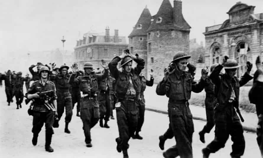 British and Canadian soldiers being taken prisoner after the 1942 raid on Dieppe.