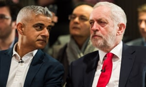 Sadiq Khan and Jeremy Corbyn at a Labour local election campaign rally in London earlier this month.