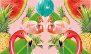 Flamingos, pineapples and watermelons