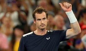 Andy Murray bedankt de menigte na zijn nederlaag tegen Australian Open.