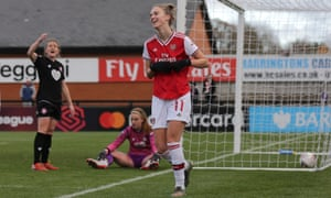 Vivianne Miedema celebrates after scoring the third of her six goals for Arsenal against Bristol City.
