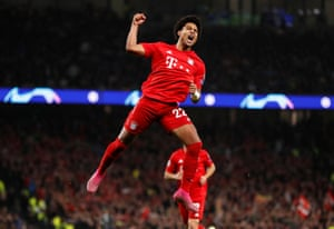 Serge Gnabry celebrates after scoring Bayern's third goal against Tottenham.