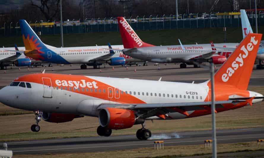 An easyJet passenger plane arrives at Birmingham airport