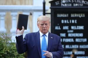 Donald Trump poses with purloined Bible outside St John's Episcopal Church, Washington DC