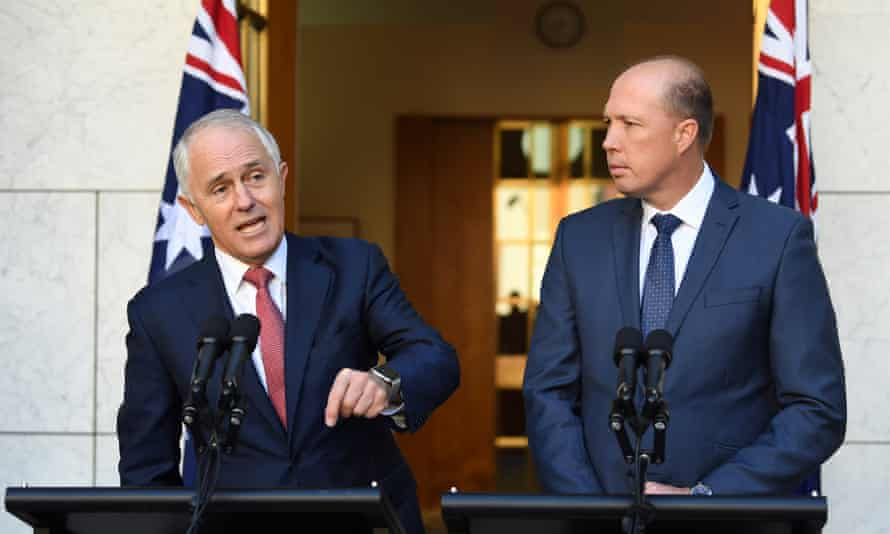 Malcolm Turnbull and Peter Dutton at a press conference in Canberra