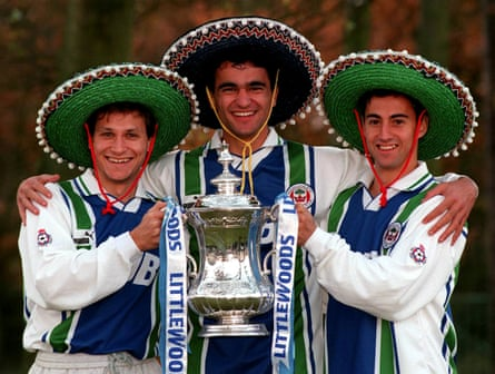 Jesús Seba, Roberto Martínez and Isidro Díaz, Wigan's 'Three Amigos', posing with the FA Cup