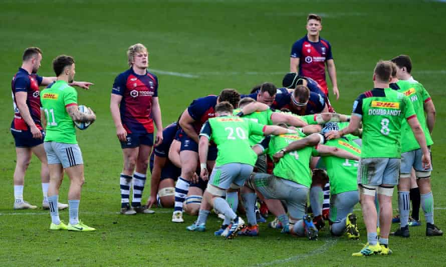 Bristol Bears and Harlequins prepare for a scrum during a match in March.