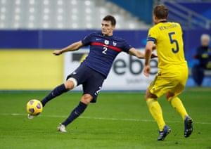 Benjamin Pavard fires in France's second goal.