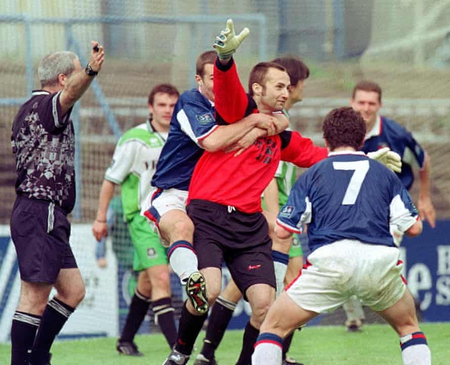 Carlisle's goalkeeper Jimmy Glass celebrates scoring the winning goal to keep them in the league in 1999