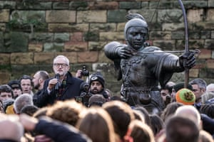 Nottingham, UKThe Labour leader, Jeremy Corbyn, speaks to a crowd of supporters next to a statue of Robin Hood, while on the general election campaign trail