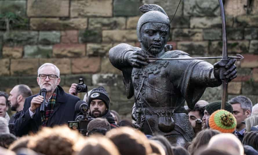 Jeremy Corbyn gives a speech while on the campaign trail in Nottingham.