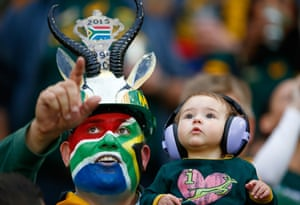 Two generations of Springbok fans enjoy the atmosphere at the Olympic Stadium