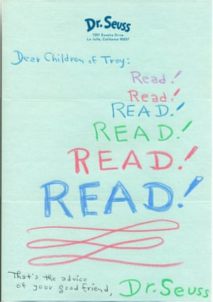 Letter from Dr Seuss to library in Troy, Michigan