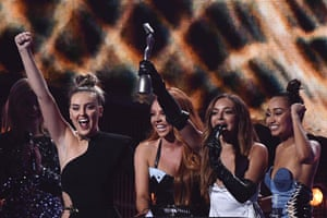 Little Mix celebrate with their award for best British single