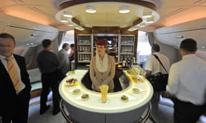 The bar in the Airbus A380's first-class lounge