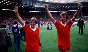 Liverpool's Kenny Dalglish and Graeme Souness celebrate after winning the 1979 Charity Shield