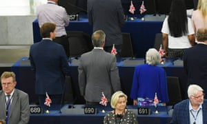 From left to right: Richard Tice, Nigel Farage and Ann Widdecombe with their backs turned as the Ode to Joy was played.