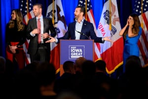 Donald Trump Jr. speaks during a press conference in Des Moines, Iowa.