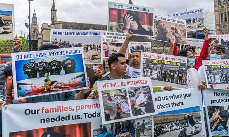 Supporters of Afghan refugees demonstrate in Westminster on 18 August.