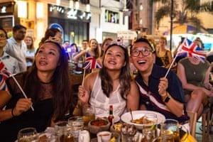 A screening party at a bar in Hong Kong