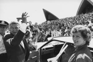 Bob and Hazel Hawke leave the Sydney Opera House during the 1983 election campaign