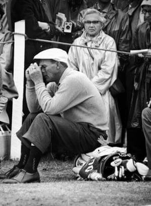 5 July 5 1960. Arnold Palmer the US Open Champion, sits on his golf bag halfway through his troublesome second round of qualifying play in the British Open Championship at St Andrews, Scotland. At that point, the 10th tee, Palmer had 36. On the second nine holes he shot a 39 for an over-par 75 in a heavy downpour in first qualifying match.