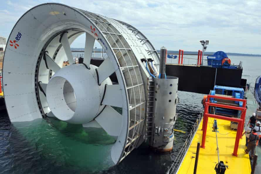 One of the world's largest underwater turbines in Brehec bay, Plouezec, France