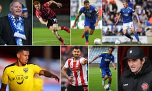Clockwise: Peterborough director of football Barry Fry, Lincoln's Callum Morton, Wigan's Sam Morsy, Flynn Downes of Ipswich, Fleetwood manager Joey Barton, AFC Wimbledon's Ethan Chislett, Bailey Wright of Sunderland and Oxford's Marcus McGuane.