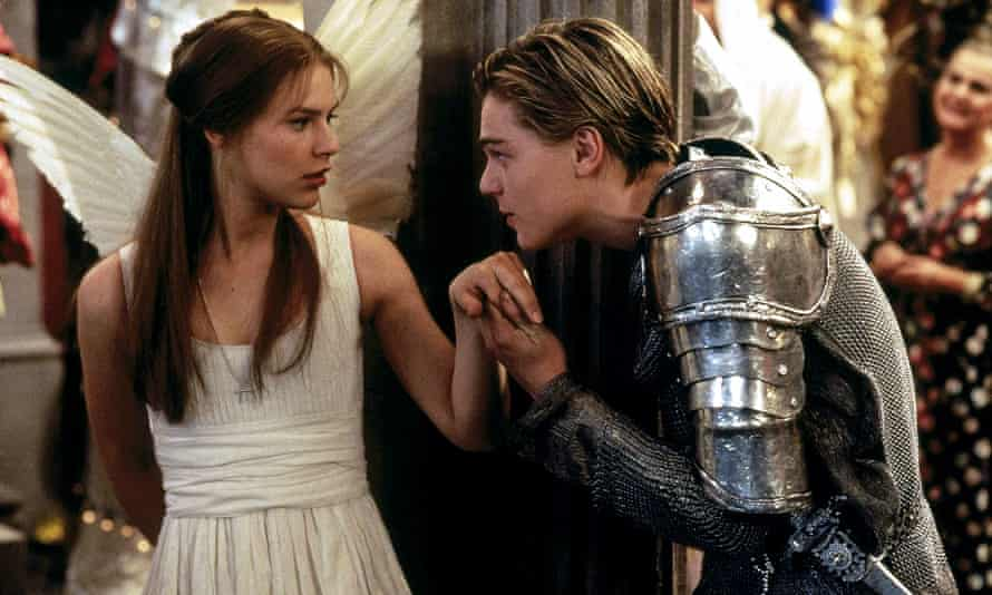 Claire Danes and Leonardo DiCaprio in Baz Luhrmann's 1996 film version of Romeo and Juliet