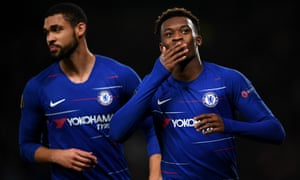 Callum Hudson-Odoi of Chelsea celebrates after he scores his side's third goal.