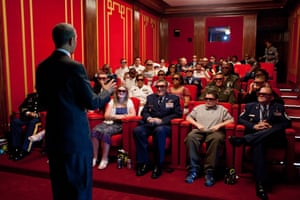 25 May: 'The president welcomed service members and their families to a screening of Men in Black 3 in the White House family theatre. The film was being presented in 3D, so the president jokingly asked the audience to try on their 3D glasses while he was speaking to them'