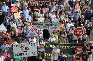 People march as part of an anti-Adani rally led by Bob Brown in Brisbane