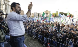 Matteo Salvini addressing a rally in Rome in October.