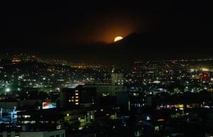Baja California, Mexico The Supermoon is seen over Tijuana
