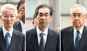 Former Tepco chairman Tsunehisa Katsumata, and Ichiro Takekuro and Sakae Muto, former vice presidents, arrive at court in June.