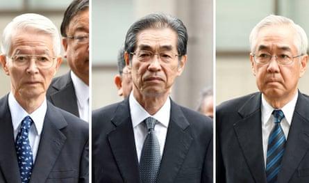 Former Tepco executives Tsunehisa Katsumata, Ichiro Takekuro and Sakae Muto