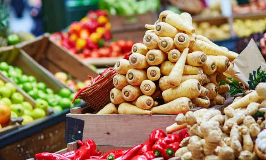 Vegetables on offer at a market in London