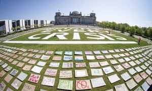 A climate protest in front the German parliament building in Berlin in April