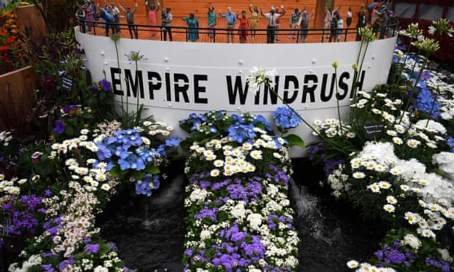 A floral display incorporating the Empire Windrush ship for the 2018 RHS Chelsea Flower Show.