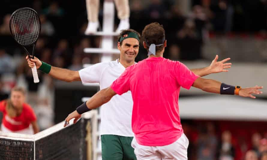 Roger Federer hugs Rafael Nadal after Africa match in Cape Town in February 2020