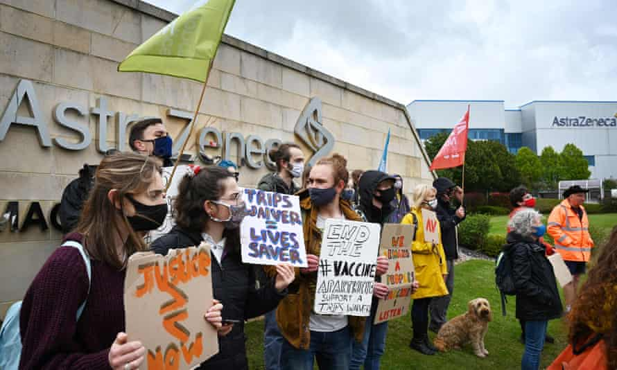 Protesters outside the AstraZeneca offices in Macclesfield.