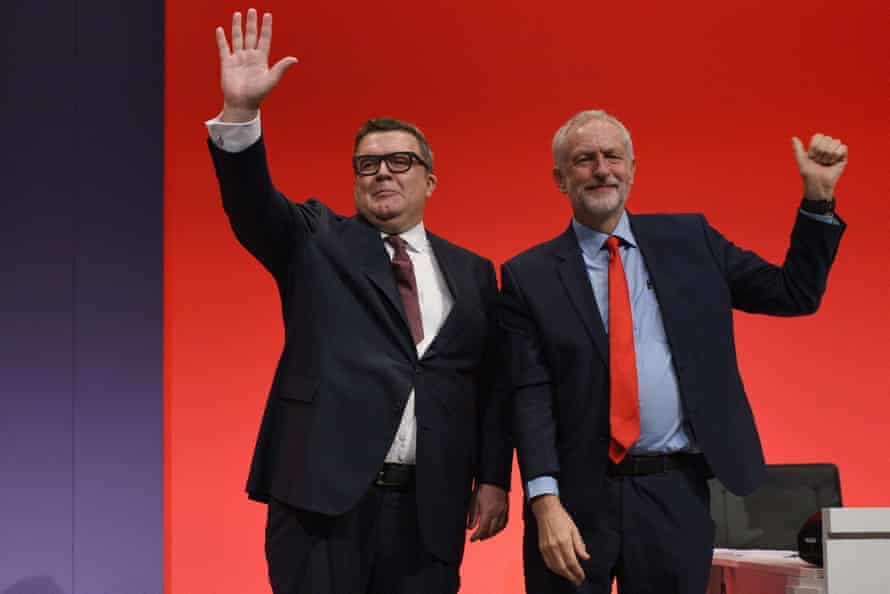 Watson with Jeremy Corbyn at the Labour party conference in 2016.