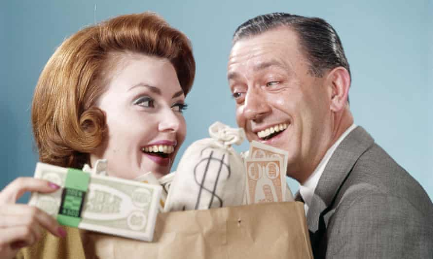 1960s couple with shopping bag full of money