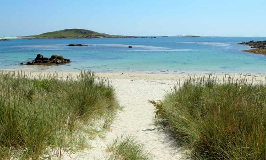 Path to Rushy Bay beach in Bryher, Isles of Scilly.